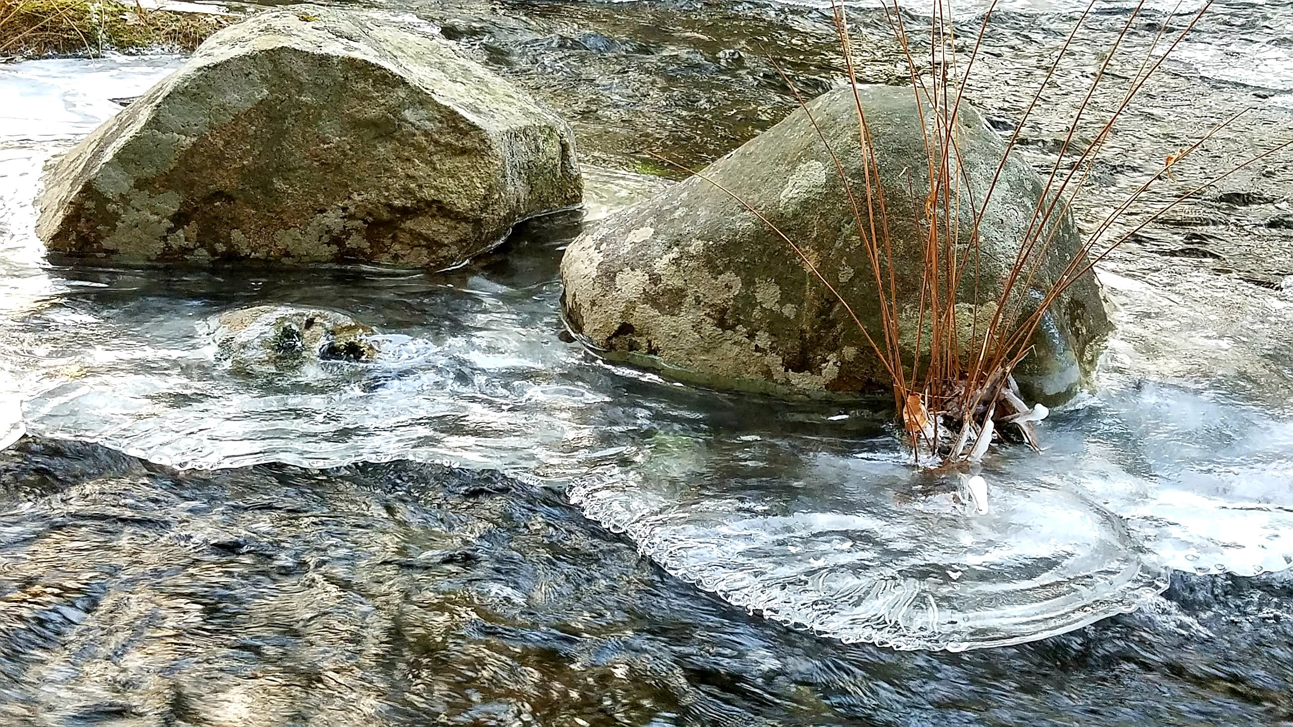 20190115_2-boulders-with-ice-island-in-stream-scenic